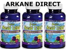3 x RESVERATROL 1200 mg, POTENT DOSE, Red Wine Extract, Detox, Anti Oxidant