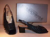 Scarpe classiche comode sandali Morbicomoda donna shoe tacchi pelle cuoio blu 37