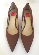 NEW  Oscar de la Renta Brown Tan Fabric Kitten Heels Pumps Shoes Womens Sz 7