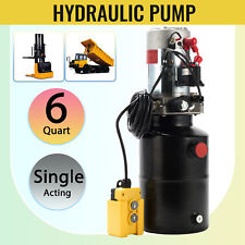 6 Quart Single Acting Hydraulic Pump 12v Dump Trailer Reservoir fsy