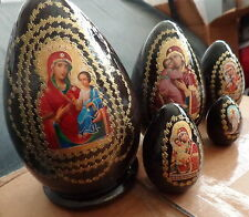 "Russian wood nesting doll eggs  5 pcs  icons large 6.5"" icon  #3"