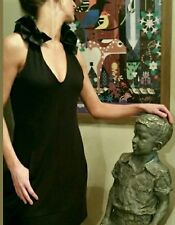 Ruffled Neckline in Satin Makes The PERFECT LITTLE BLACK DRESS In Sz. 6