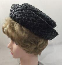 Vintage 1950s Ladies Womens Designer Hat Maxine Hats Black Ribbon Fashion 3189