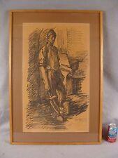Vintage 1955 signed Guiseppe Leone Italian Manual Labor Figure Drawing
