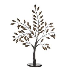 74740 Skulptur Baum Oak Metall dunkelbraun Blätter brüniert auf runder Basis