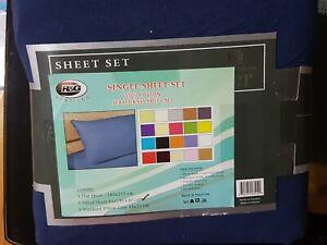 Single Bed Sheet Set navy 100% cotton jersey knit 3pc fited flat pillowcase