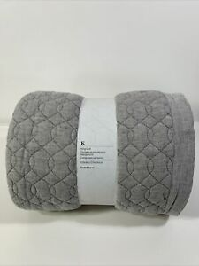 Crate And Barrel Elize Grey Gray Quilt King NEW