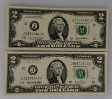 Two- Consecutive Two Dollar Bills - Year Of TheRooster Gift Lot - FREE SHIP!!