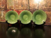"3 Bordallo Pinheiro Green Flowers Soup Bowl Majolica Portugal Art 7.5"" MINT RARE"