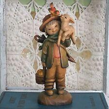 Vtg 1977 Friendship 7� Wood Carved Figurine Boy&Lamb Juan Ferrandiz Shepherd