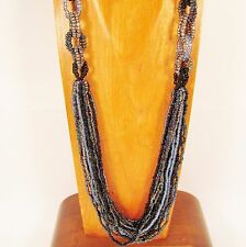 "36"" Long Multi Strand Handmade Blue Black Seed Bead Chainlink Statement Necklace"