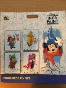 DISNEY PIN, NEW 4 PIN SET BOOSTER PACK, INK AND PAINT
