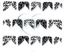 J051 NAGELSTICKER French Style Fingerspitzen schwarz weiß Nail Art Tattoo Aufkle
