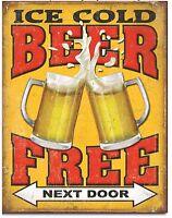 Free Beer Next Door Metal Tin Sign Humor Funny Garage Bar Shop Wall Decor New