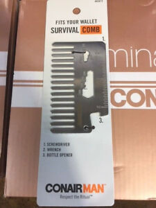 Conair Man Survival Pocket Comb with Ruler, Screwdriver, Wrench & Bottle Opener