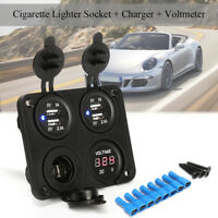 4in1 Dual USB Power Charger Outlet Flush Mount 12V Voltmeter Cigarette Socket