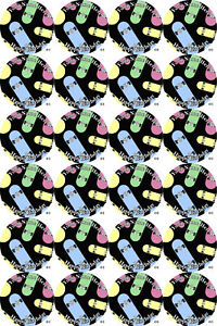 Cupcake Toppers x20 Skateboard Rice paper,Icing fondant Sheets.1095