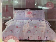 3 Pc Unicorn Fairy Princess Castle Pattern Comforter Decorative Pillow Set, Pink