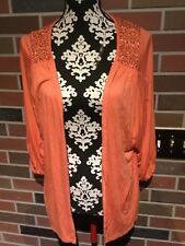 Daytrip by Buckle 3/4 Sleeve Flyaway Sequined Blouse ~Soft Coral~Sz Large