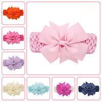 Newborn Baby Girl Infant Kids Headdress Elastic Wave Headband Bowknot Hairband K