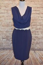 Modcloth Gala Gaiety Dress Sz 8 Navy Fitted Shift Paper Dolls $100 Cowl Neck