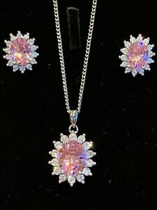 BUCKLEY LONDON SILVER NECKLACE PINK & WHITE STONE (CUBIC ZIRCONIA)