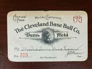 1921 Cleveland Indians World Champion original baseball annual pass - tickets
