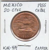 (M)  Coin - Mexico - 20 Centavos - 1955 CH BU - Copper