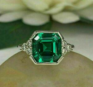 2Ct Asscher Cut Green Emerald Solitaire Engagement Ring 14K White Gold Finish
