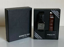 NEW KENNETH COLE MEN'S BLACK BROWN INTERCHANGEABLE LEATHER STRAP WATCH $125 SALE