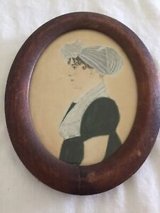 Nice Early American Miniature Profile Portrait Of A Lady, Gouache On Card c.1820