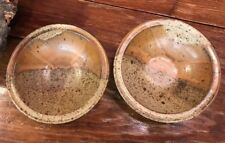 PAIR Antique Artist Handmade and Signed Pottery Bowls STUNNING
