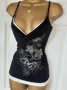 Vintage Jane Norman black white silver embellished vest top UK 12 14