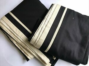 Croscill Drapes Curtains Set of 2 Black Tan Border 45 x 86 in Lined Home LOOK!!