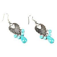 Blue Alloy Statement Turquoise Earring Alloy Leaf Crystal Earrings W