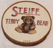 ❤VINTAGE STEIFF ~TEDDY BEAR ROUND WOODEN SIGN~ ADVERTISING 1930-40 COLLECTOR PC❤