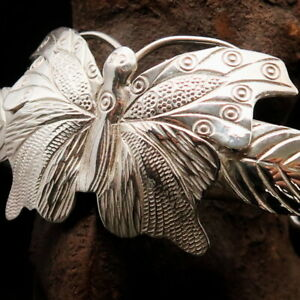EXCELLENT HAND CRAFTED WOMENS STERLING SILVER BUTTERFLY BRACELET MIRROR POLISHED