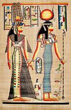 "Egyptian Hand-Painted Papyrus Imported Artwork: Isis Leading Nefertari 25"" x 34"""