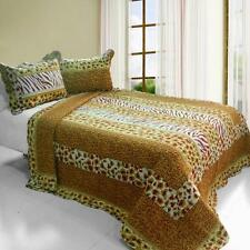 3 PC Golden Time animal print gold red tan stripes 100% Cotton Queen Quilt Shams
