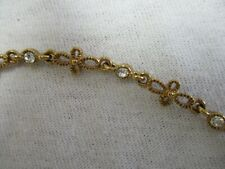 Flower shape links & tiny clear Stones Ankle Bracelet signed Saq Gold Tone Chan