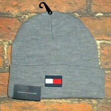 MENS TOMMY HILFIGER GRAY ICONIC LOGO BEANIE HAT ONE SIZE