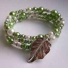 New Handmade Green & White Glass Pearl Bead Leaf Charm Memory Wire Bracelet