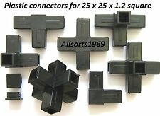 Aluminium square tube joiners end caps suits 25.4 x 25.4 x 1.2mm Plastic joiners