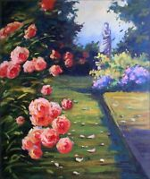 Quality Hand Painted Oil Painting The Rose Garden 20x24in