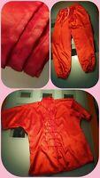 Original Kungfu Anzug mit Schärpe Gürtel 160 cm Wettkampf Jugend Wushu rot