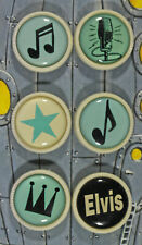 More details for vintage winky & dutch set of 6 music / elvis buttons, unused on display card