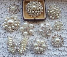 Pretty silver diamante pearl brooch wedding bouquets cake brooches decorations