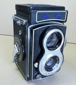 Seagull 6x6 Kamera doppeläugig mit 3,5/75mm Objektiv und Original Ledertasche