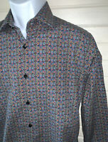 Jared Lang Sz SMALL Button Up Shirt Stained Glass Print L/S Spread Collar EUC