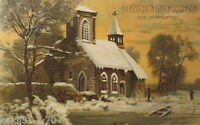 """ New Year, Church, Sunset "" 1907, Embossed Postcard (15966)"